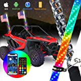 omotor 2pcs 3ft LED Whip Lights with Bluetooth and Remote Control Spiral RGB Chase Light Offroad 360°Spiraling Rising Dream W