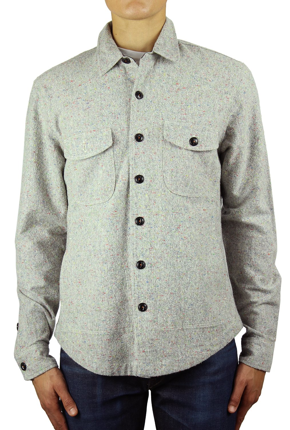 HIROSHI KATO Kato Shirts Jacket 100% Cotton Speckle Grey S