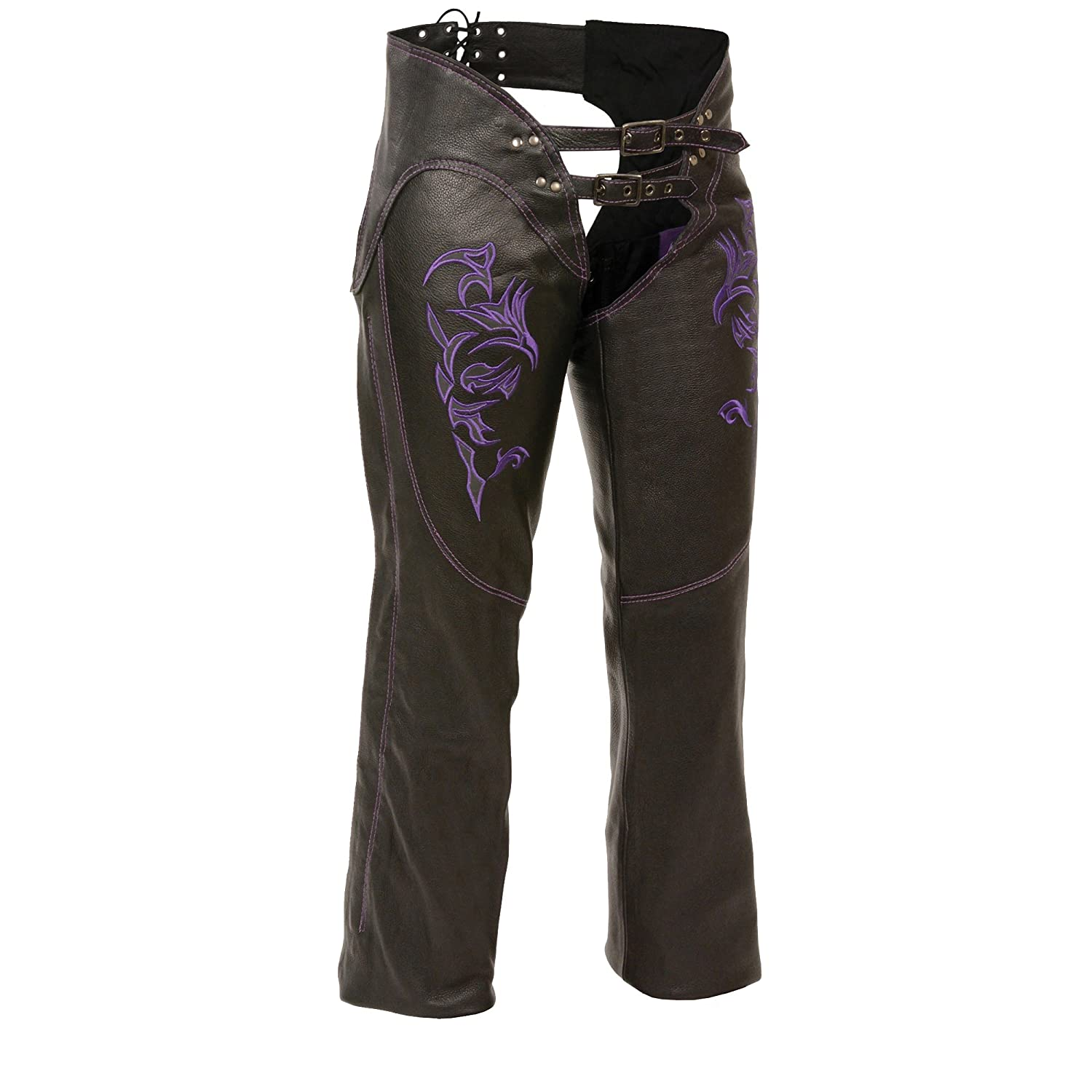 Small Black//Purple Milwaukee ML1187-BLK//PUR-SM Womens Leather Chaps