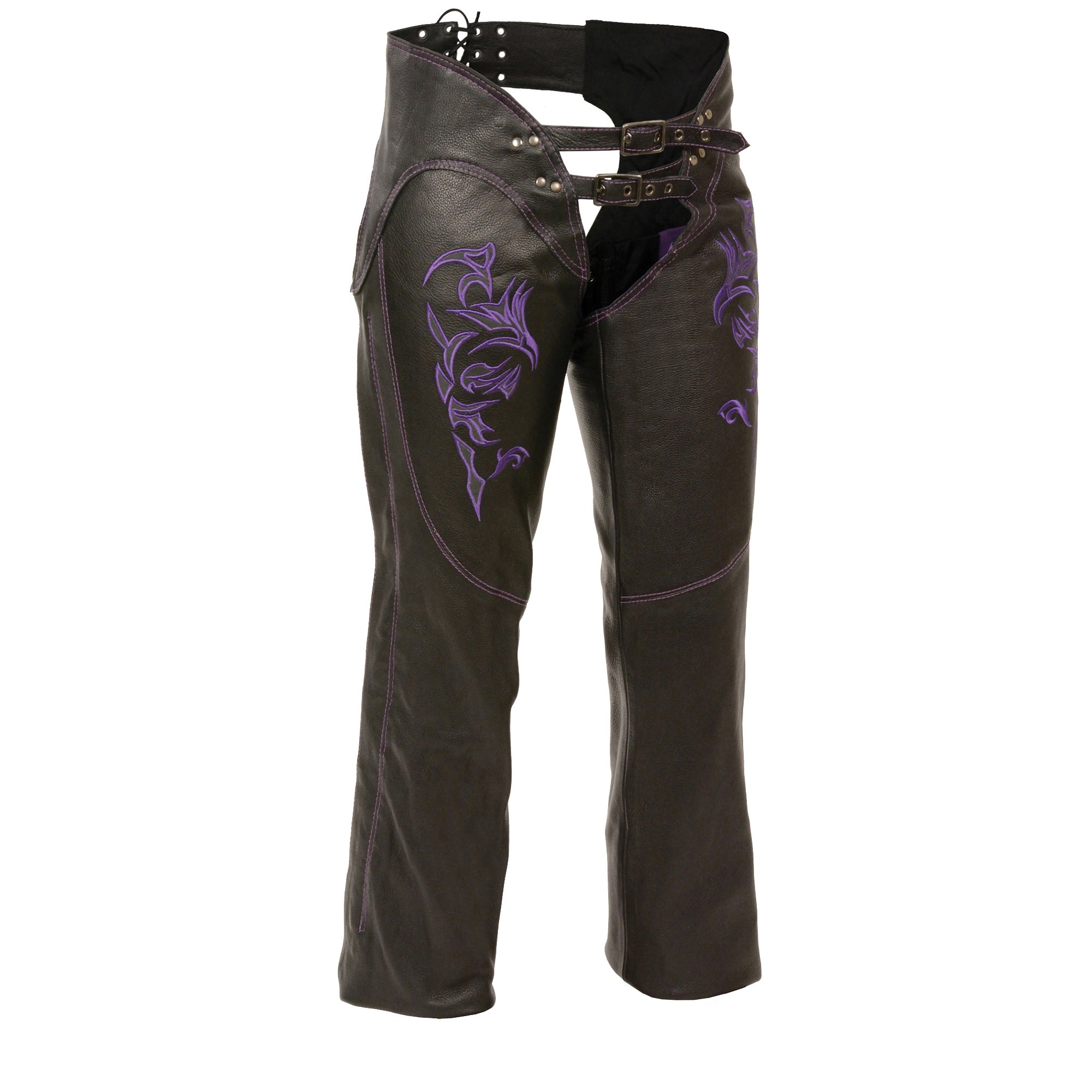 Milwaukee ML1187-BLK/PUR-MD Women's Leather Chaps, Medium, Black/Purple by Milwaukee