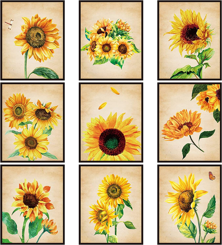 Outus 9 Pieces Sunflower Decor Wall Art Posters, Sunflower Decor MuralDecoration for Living Room, Bathroom, Nursery, Girl University, No Frame, 8 x 10 inch (Classic Color)