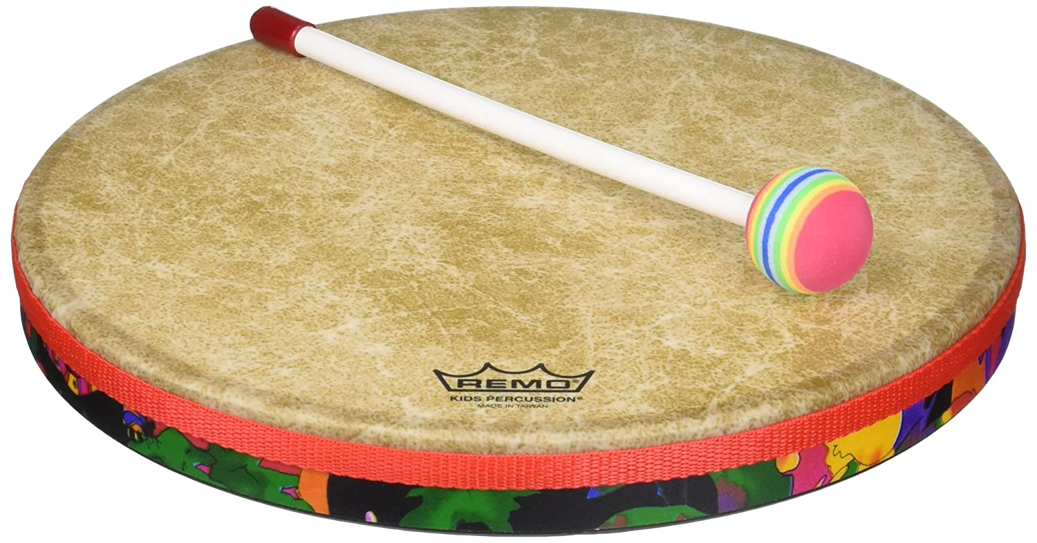 Remo Drum, KIDS PERCUSSION, Hand Drum, 12 Diameter, 1.25 Depth, Fabric Rain Forest 12 Diameter 1.25 Depth KD-0112-01