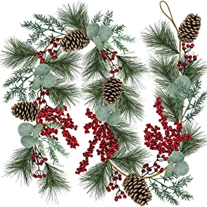 6' Long Christmas Artificial Pine Needle Garland Wired Rustic Twig Vine Birch Garland with Assorted Faux Red Berries Eucalyptus Leaves Natural Pine Cones Fir Sprigs Garland Holiday Season Winter Decor