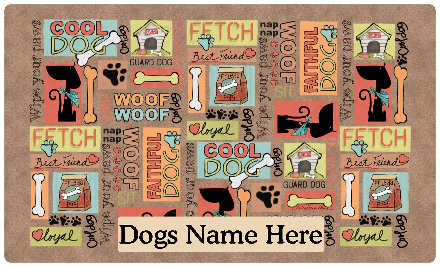 Drymate Pet Placemat, Dog Food Mat - Personalized Pet Food Mat - Personalized Placemats For Dogs (Made from Recycled Fibers, Machine Washable) - Cool Dog, Brown (Medium - 12'' x 20'')