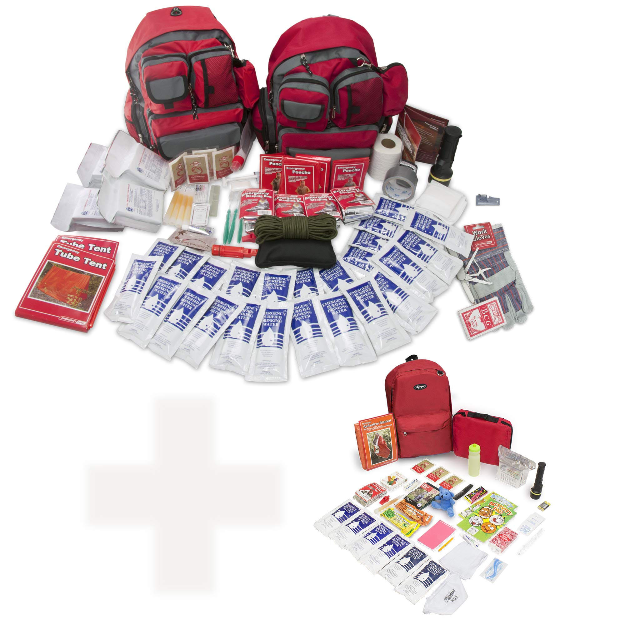 Bundle & Save | Emergency Zone 4 Person Family Prep 72 Hour Survival Kit + Deluxe Child Emergency Go Bag | Perfect Way to Prepare Your Family | Be Ready for Disasters like Hurricanes & Earthquakes by Emergency Zone (Image #1)
