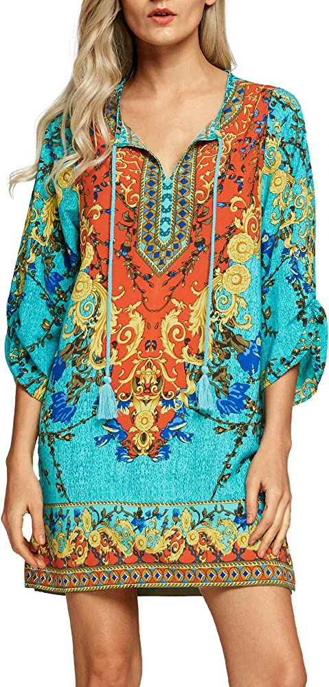 Women Bohemian Neck Tie Vintage Printed Ethnic Style Summer Shift Dress  (Small, Pattern 1) at Amazon Women's Clothing store