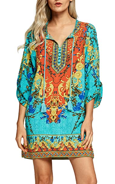 Women Bohemian Neck Tie Vintage Printed Ethnic Style Summer Shift Dress Small Pattern 1