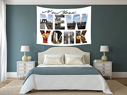 Amazon.com: Polyester Tapestry Wall Hanging,NYC Decor,New York City ...