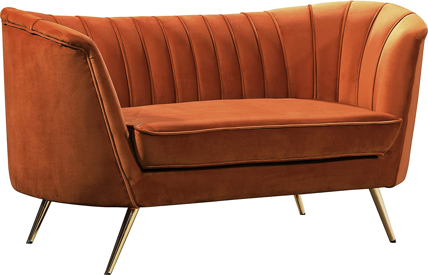 Meridian Furniture Margo Collection Modern | Contemporary Velvet Upholstered Loveseat with Deep Channel Tufting and Rich Gold Stainless Steel Legs, Cognac, 65