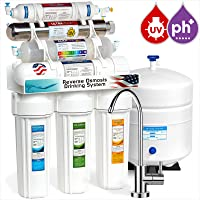 Express Water Alkaline Ultraviolet Reverse Osmosis Water Filtration System – 11 Stage RO UV Mineralizing Alkaline Purifier with Faucet and Tank – Under Sink Filter Mineral, pH + Antioxidant – 100 Gdp