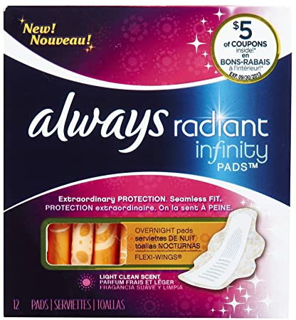 Always Radiant Infinity Pads Overnight Flex-Wings Light Clean Scent, 12 Each (Pack