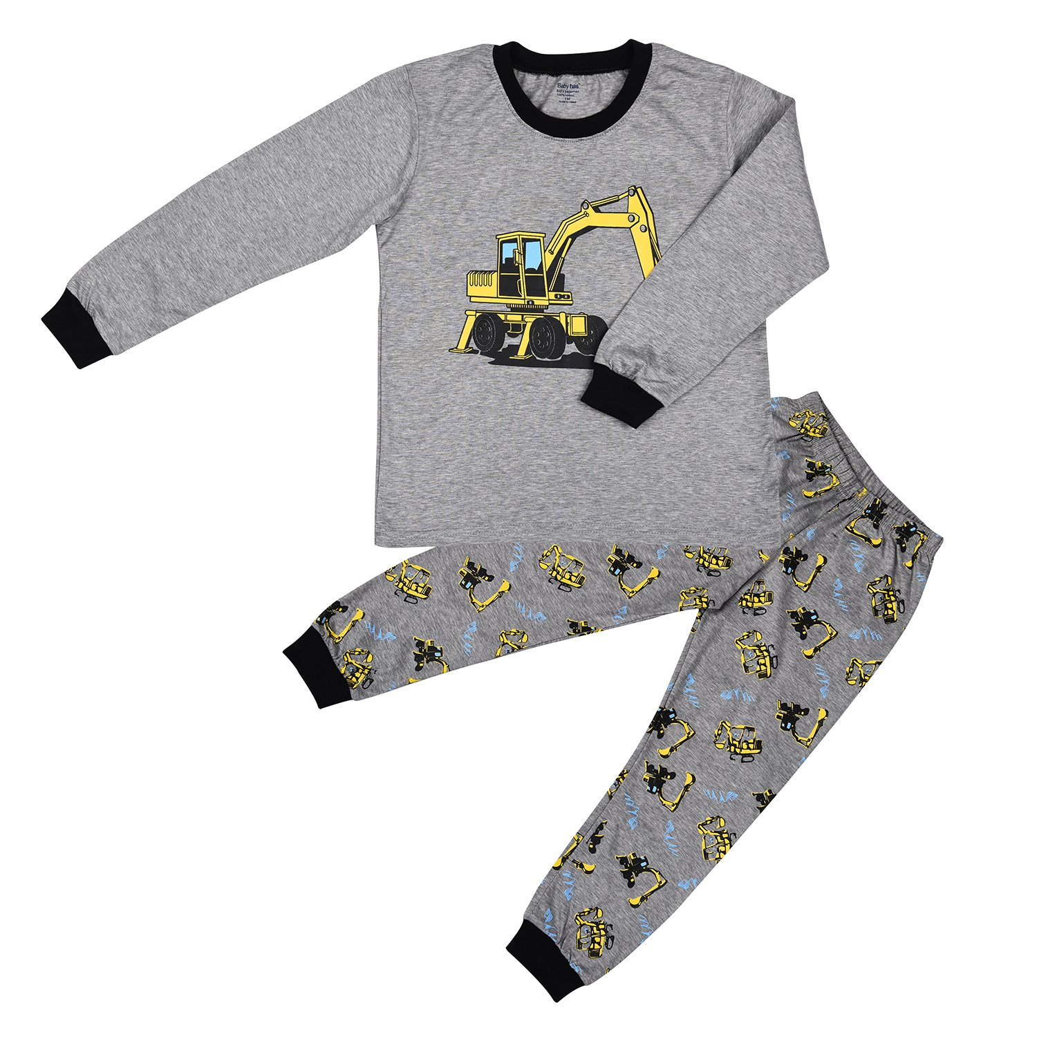 Maygold Boys Pajamas Long Sleeves Set With Airplane Print Grey Size 2T-7T