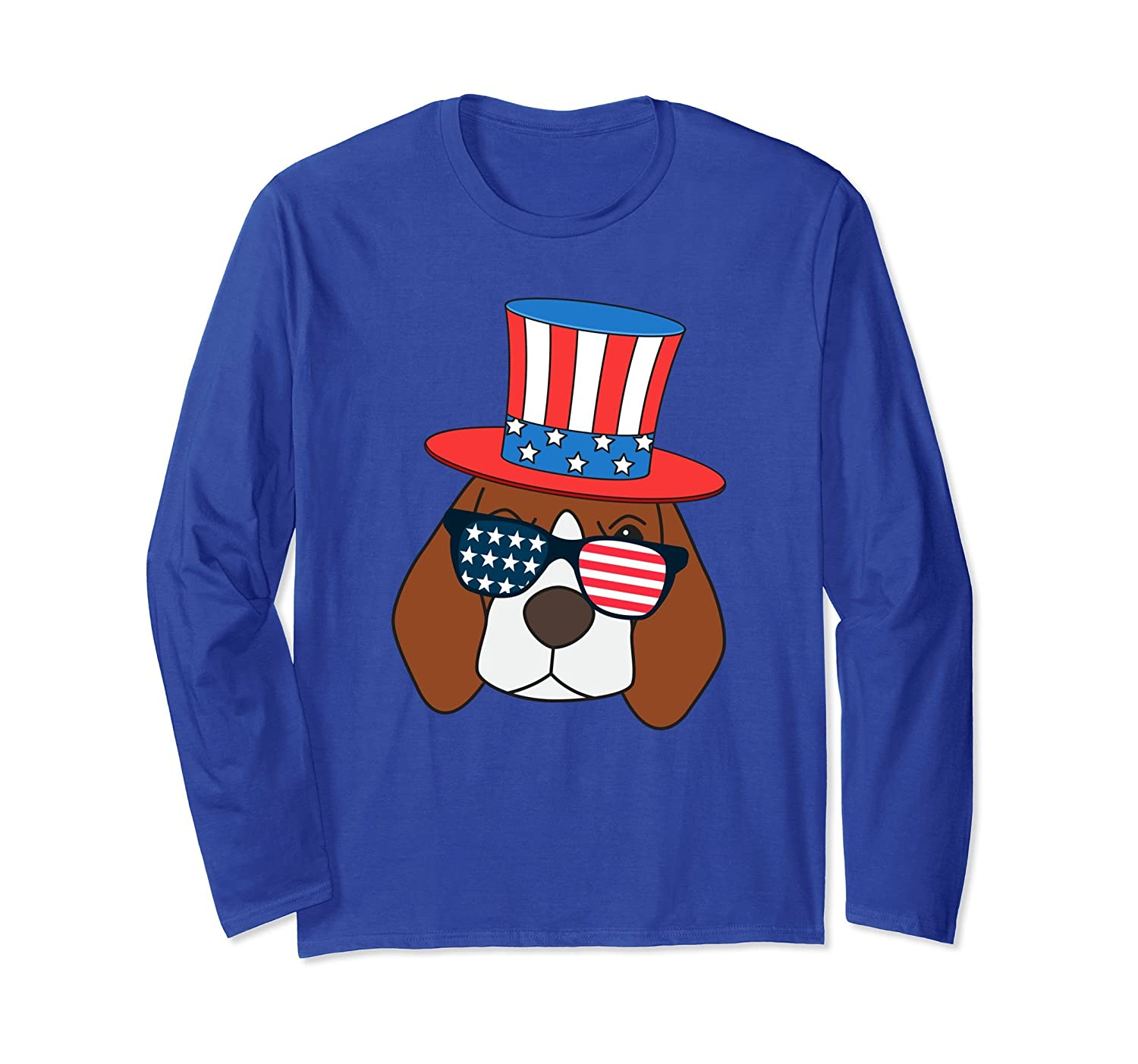 4th of July American Flag Patriot Beagle Dog Long Sleeve-AZP