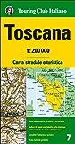 Toscana, mapa de carreteras impermeable. Escala 1:2000.000. Touring Club Italiano. (Carte regionali 1:200.000)