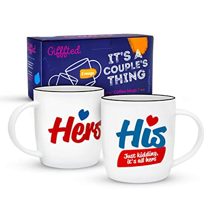 c08ebaa769 Gifffted His and Hers Coffee Mugs Set, Funny Marriage Wedding Anniversary  Gifts For The Couple