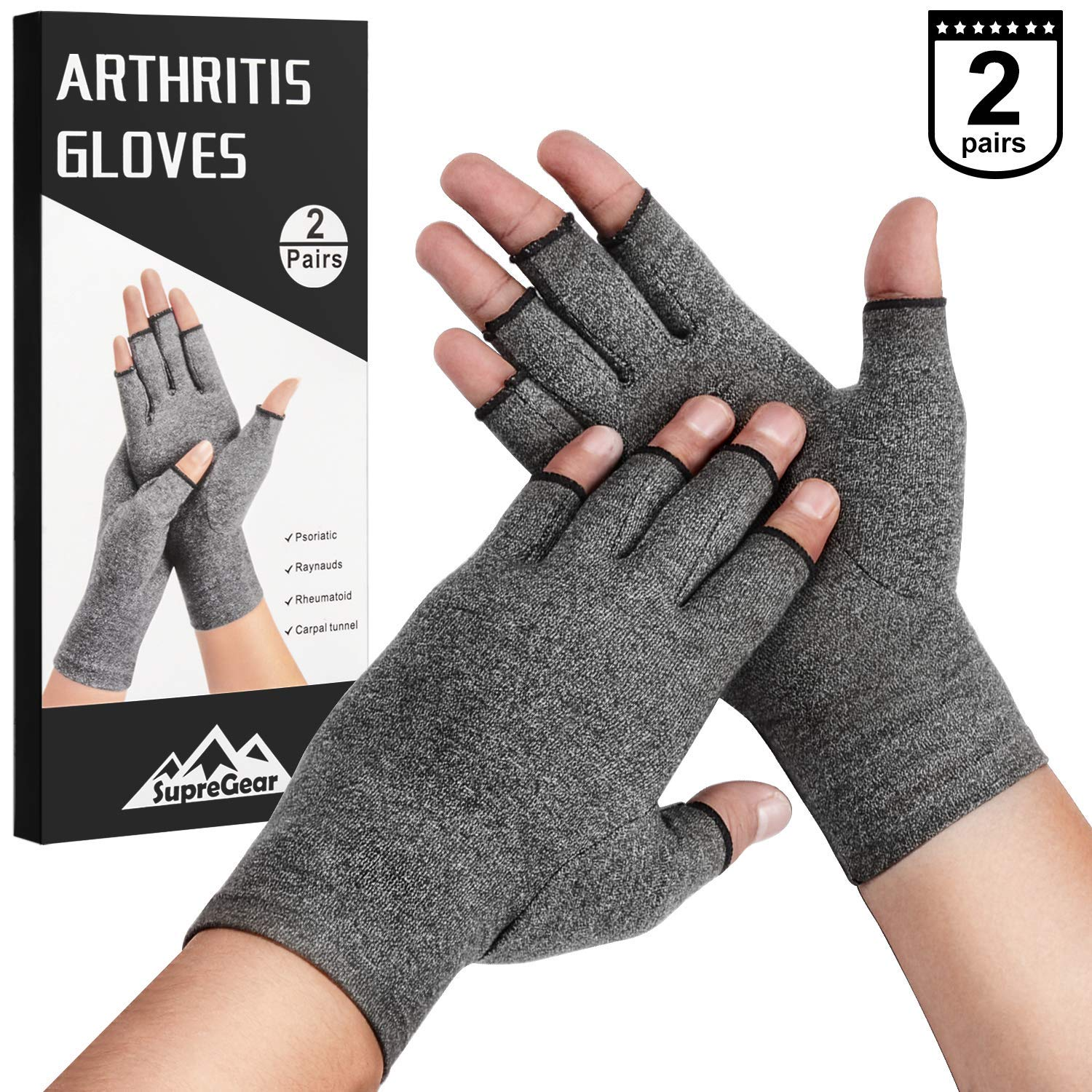 2-Pairs SupreGear Arthritis Gloves, Rheumatoid Arthritis Compression Gloves for Arthritis Hands, Pain Relief Gaming Typing Fingerless Gloves for Women Men (Grey, M)