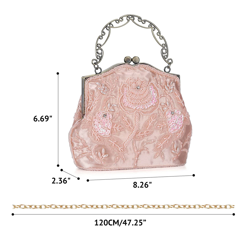 e26b83cdb14516 Chichitop Women's Vintage Flower Beaded Sequin Evening Clutch Wedding Purse  Party Bags (Pink): Handbags: Amazon.com