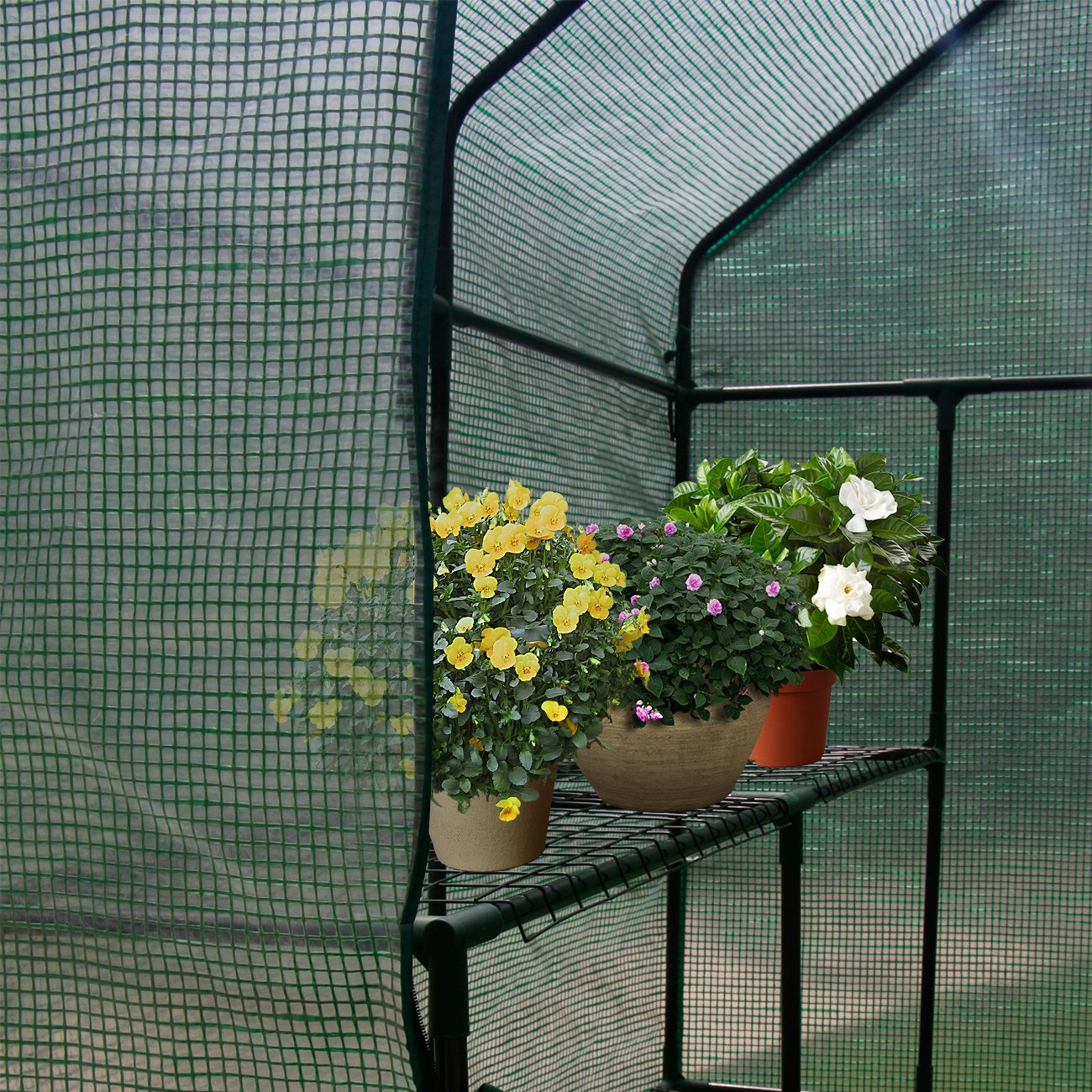 AODAILIHB Reinforced PE Net 6 Layers 8 Shelves Greenhouse Suitable for Lawn and Garden Steel Structure Assembly, 8 Fixed Buttons 4 Floor Fasteners, H x L x W:76.77 x 56.29 x 56.29 inch (02) by AODAILIHB (Image #5)
