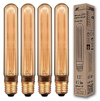 4x Bombilla LED greenandco® decorativa estilo vintage antiguo Edison E27 T30 2W 65lm 1800K (