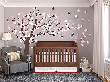 Große pflaumenblüte baum wand aufkleber mit weißen und rosa blumen -  wandtattoo wandbild mit vögeln für kinder kinderzimmer (Brown)