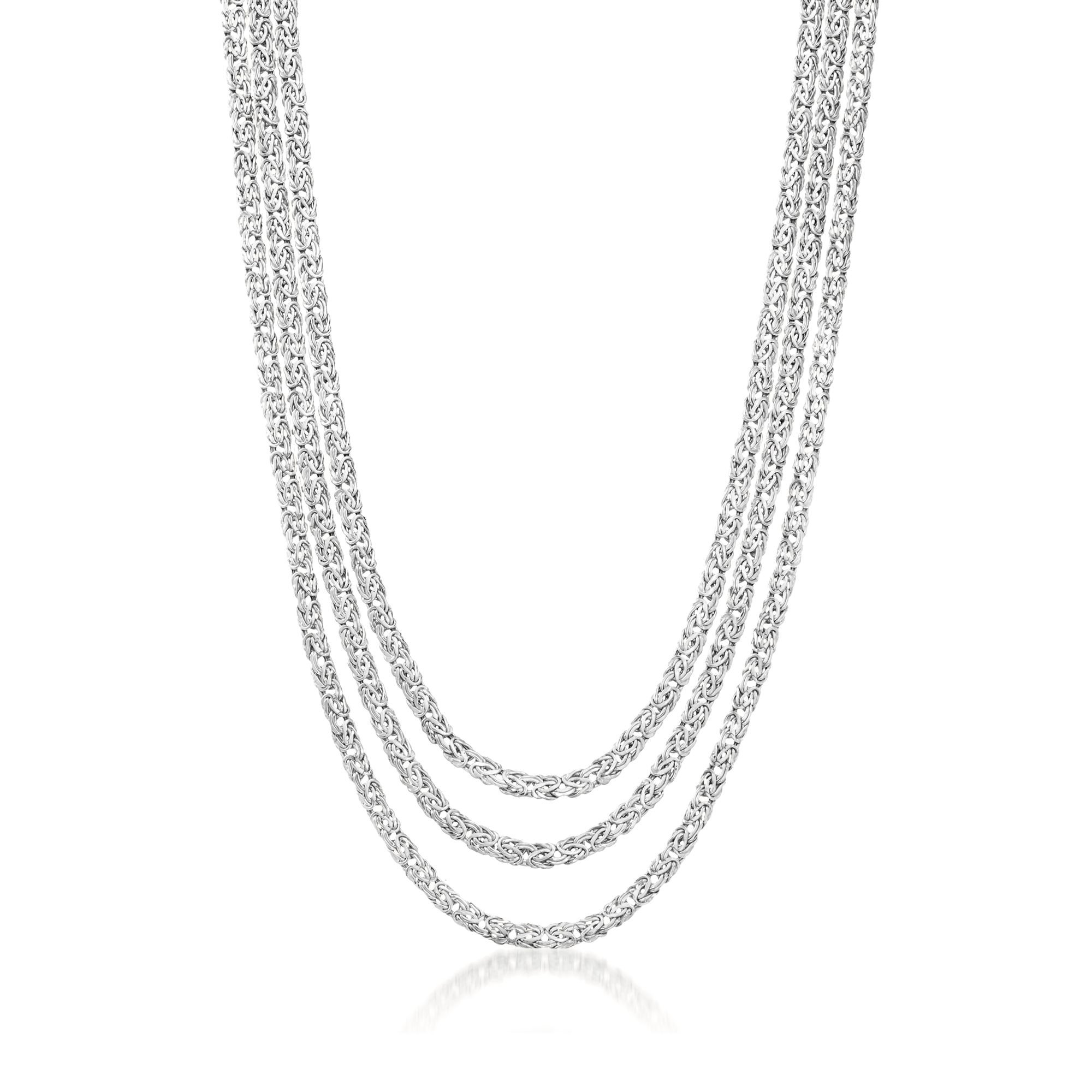 Ross-Simons Sterling Silver Three-Strand Byzantine Necklace. 18''