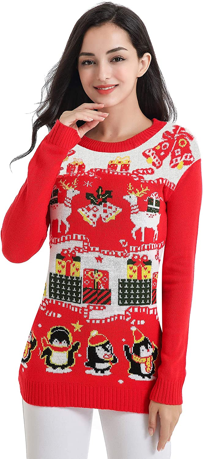 v28 Ugly Christmas Sweater for Women Vintage Funny Merry Tunic Knit Sweaters
