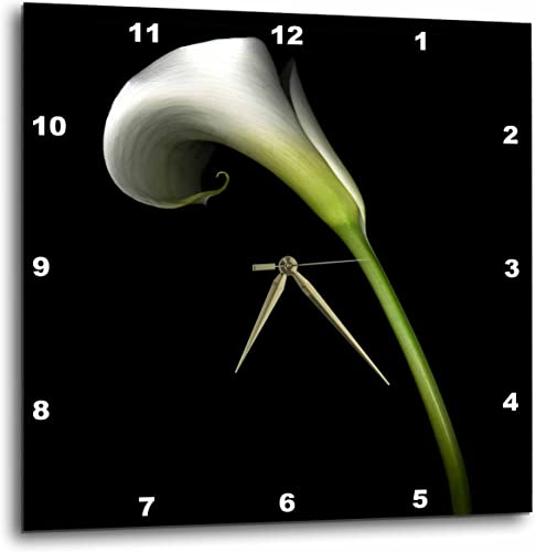 3dRose DPP_4272_2 White Calla Lily Wall Clock, 13 by 13-Inch