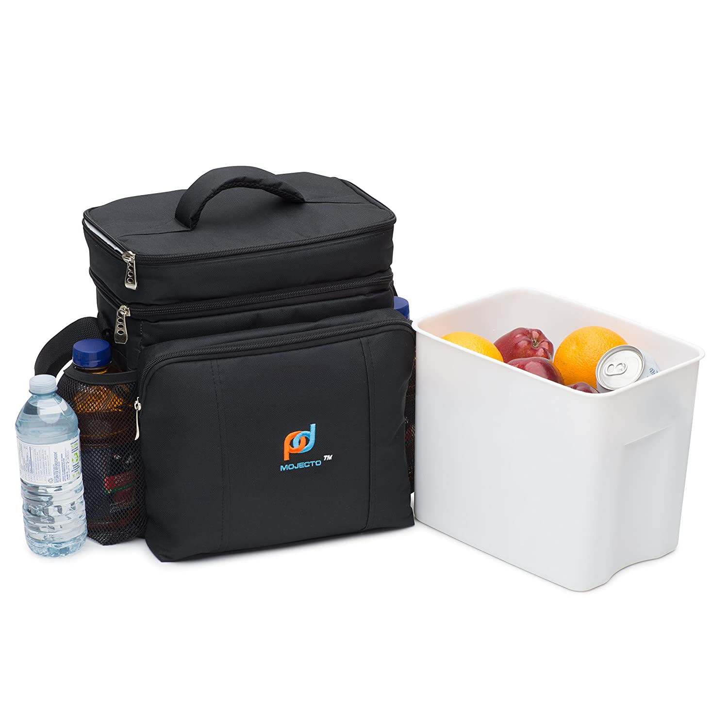 Two Compartments Cooler Lunch Bag With Removable Leakproof Plastic Hardliner Bucket. 600D Strong Ployester, Thick Foam Insulation, Large Pockets And Zippers. Medium Lunch Bag for Everyday Use.