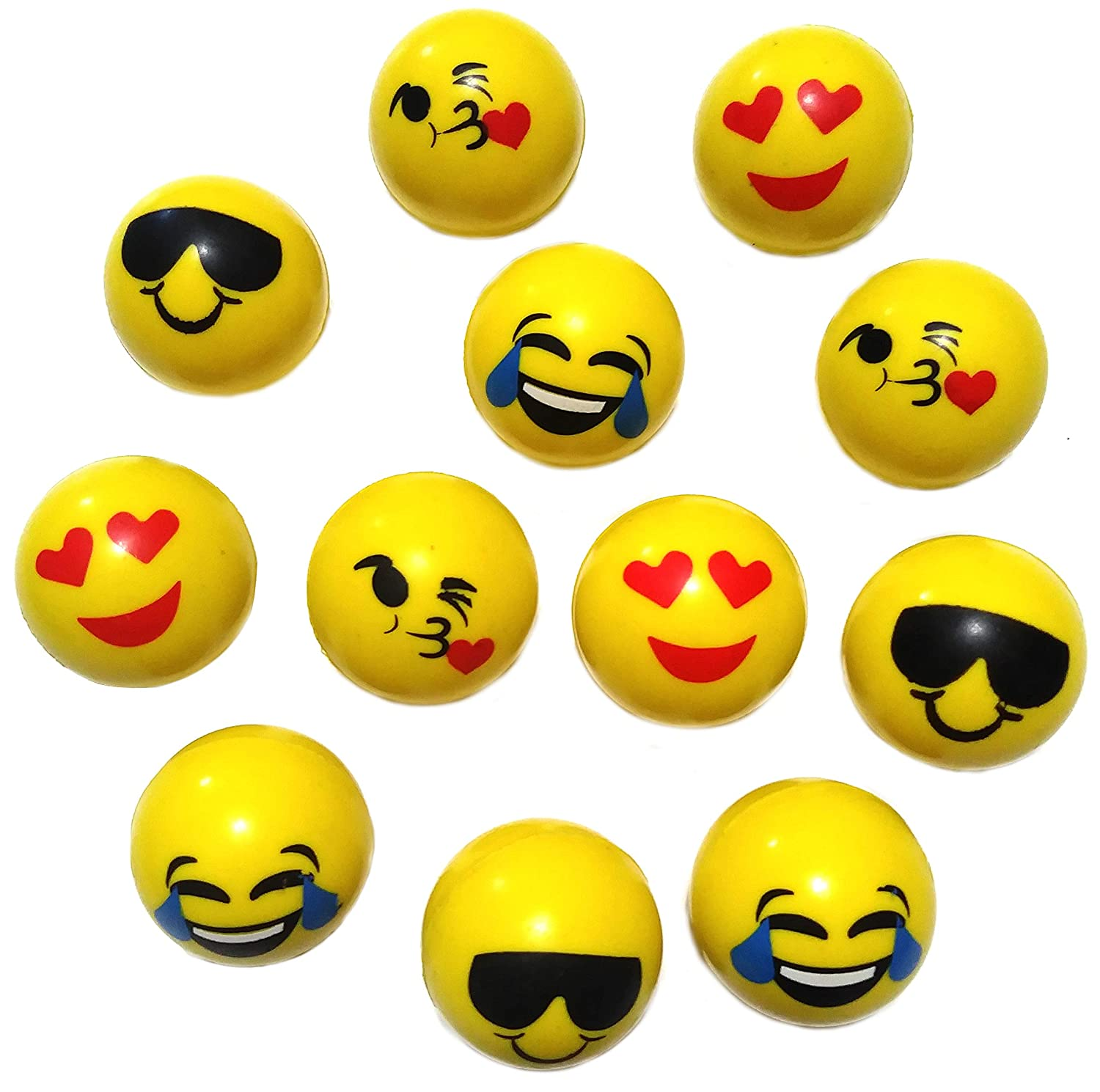 Sunflower Day Emoji High Bounce Balls 12 Pieces Per Order 38mm Bouncing Balls for Kids