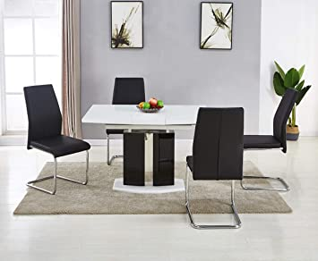 Modernique Lucido Extending Central Part White Dining Table 4 Chairs Pedestal Black High
