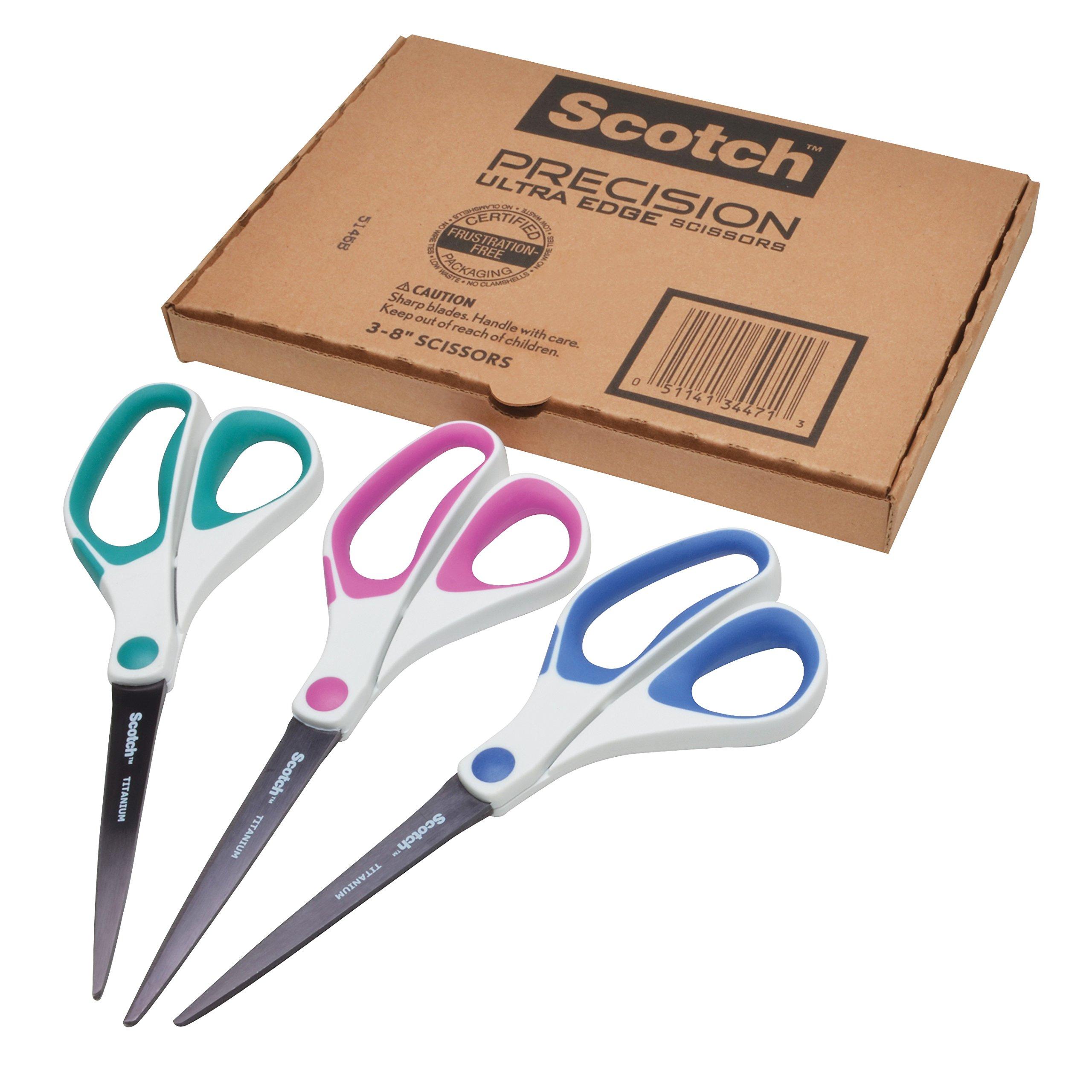 Scotch Precision Ultra Edge Titanium Scissors, 8 Inch, 3-Pack (1458-3AMZ)