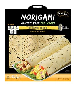 Norigami Egg Wraps Pea Protein - High Protein,Low Carb,Vegetarian Thin Healthy Wrap for Sandwiches-Ready To Fill And Serve-Certified Kosher,Non GMO,Gluten Free -6 Wraps Pea Wrap Sesame Seeds (1 Pack)