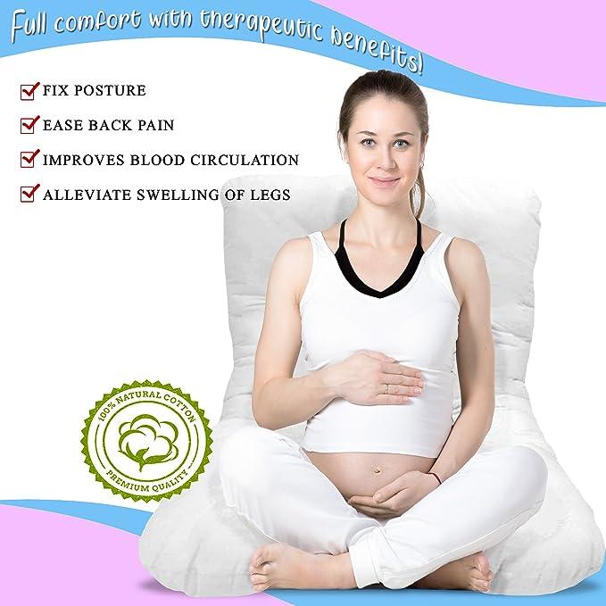 chuckle Almohada Ancha para Maternidad y Embarazo (2.7 m, 9 pies) - Ideal para Mujeres Embarazadas y Lactantes: 100% algodón, Hipoalergénico | + Funda ...