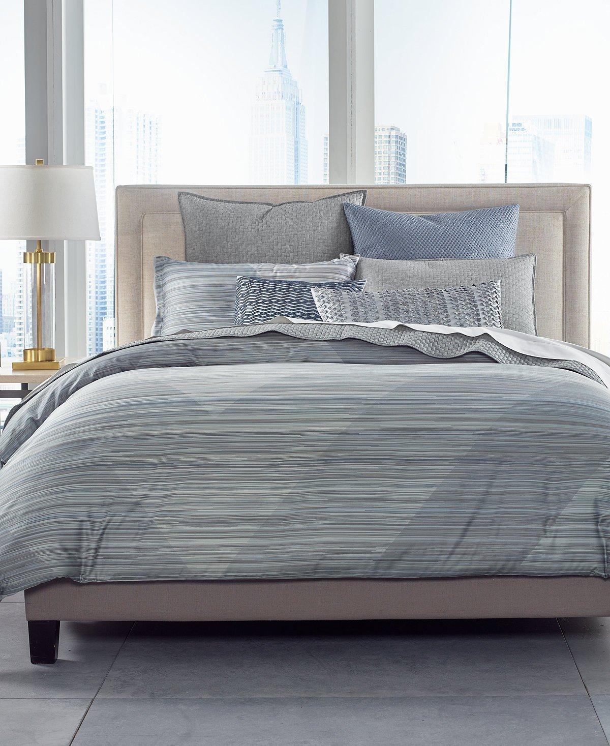 Hotel Collection Cotton Diamond Stripe Full/Queen Comforter