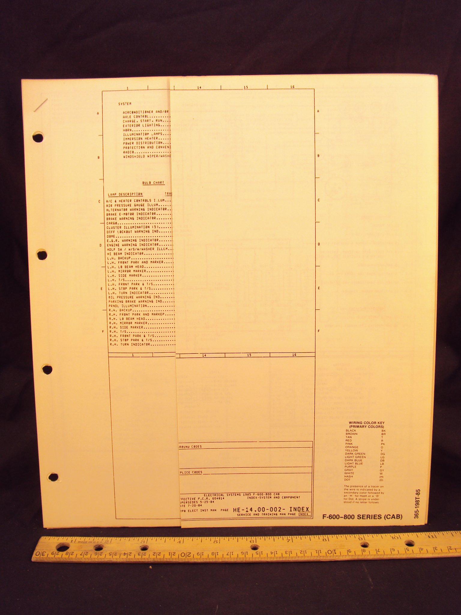 1985 ford f600, f700, & f800 series cab truck electrical wiring diagrams /  schematics loose leaf – january 1, 1984