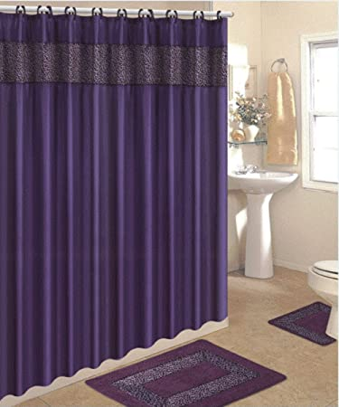 Merveilleux 4 Piece Bath Rug Set/ 3 Piece Purple Leopard Bathroom Rugs With Fabric  Shower Curtain