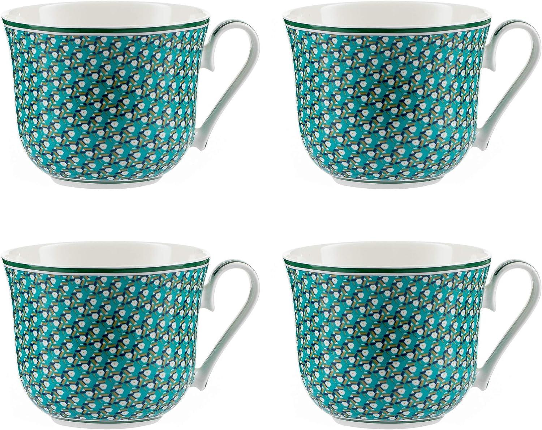 Juego de 4 Tazas Mugs de porcelana brillante Verde