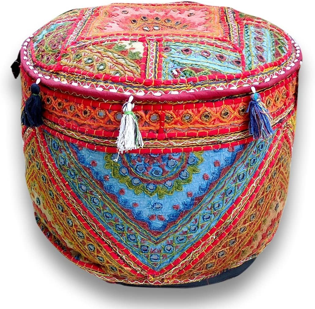 Traditional India Indian Handmade Ottoman Pouf,Vintage Patchwork Ottoman, Home Living Room Decorative Foot Stool Cover,Embroidered Chair Cover 13x18 Inch.