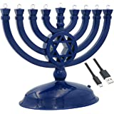 The Dreidel Company Mini Electric Menorah Traditional LED Travel Menora, Batteries or USB Powered, Micro USB 4' Cable Include