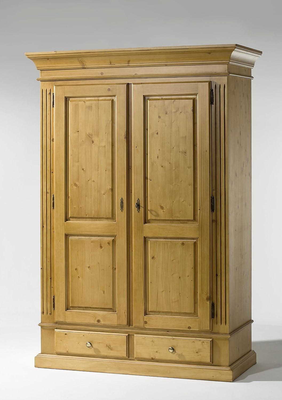 Gradel Schränke Schrank mit 1 Einlegeboden und 1 Kleiderstange (zerlegbar) in Fichte massiv - Weiss lackiert, Holzmaserung sichtbar