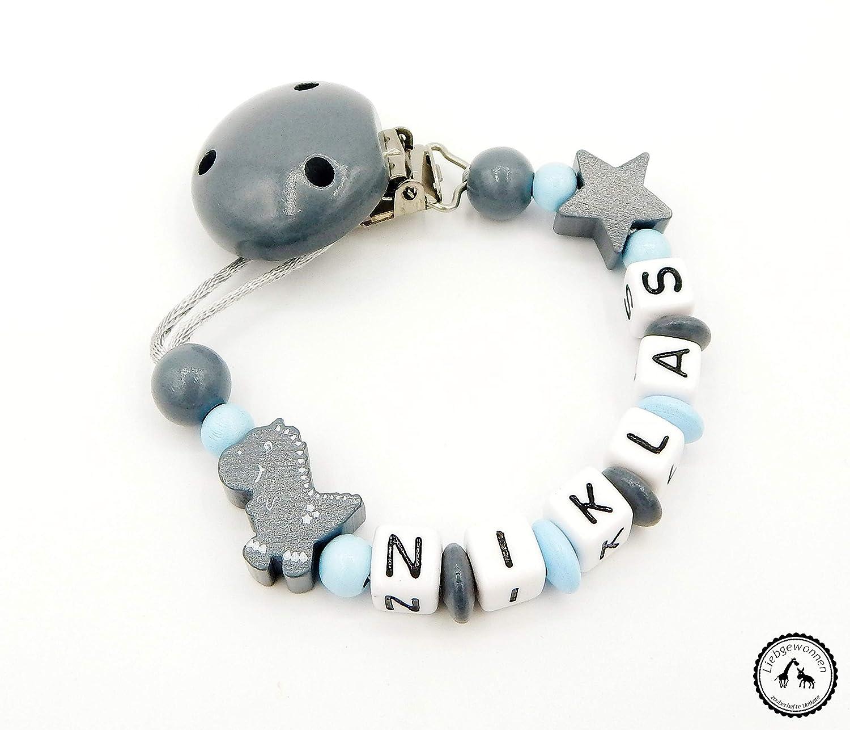 Schnullerkette mit Namen Dino//Stern in babyblau//grau