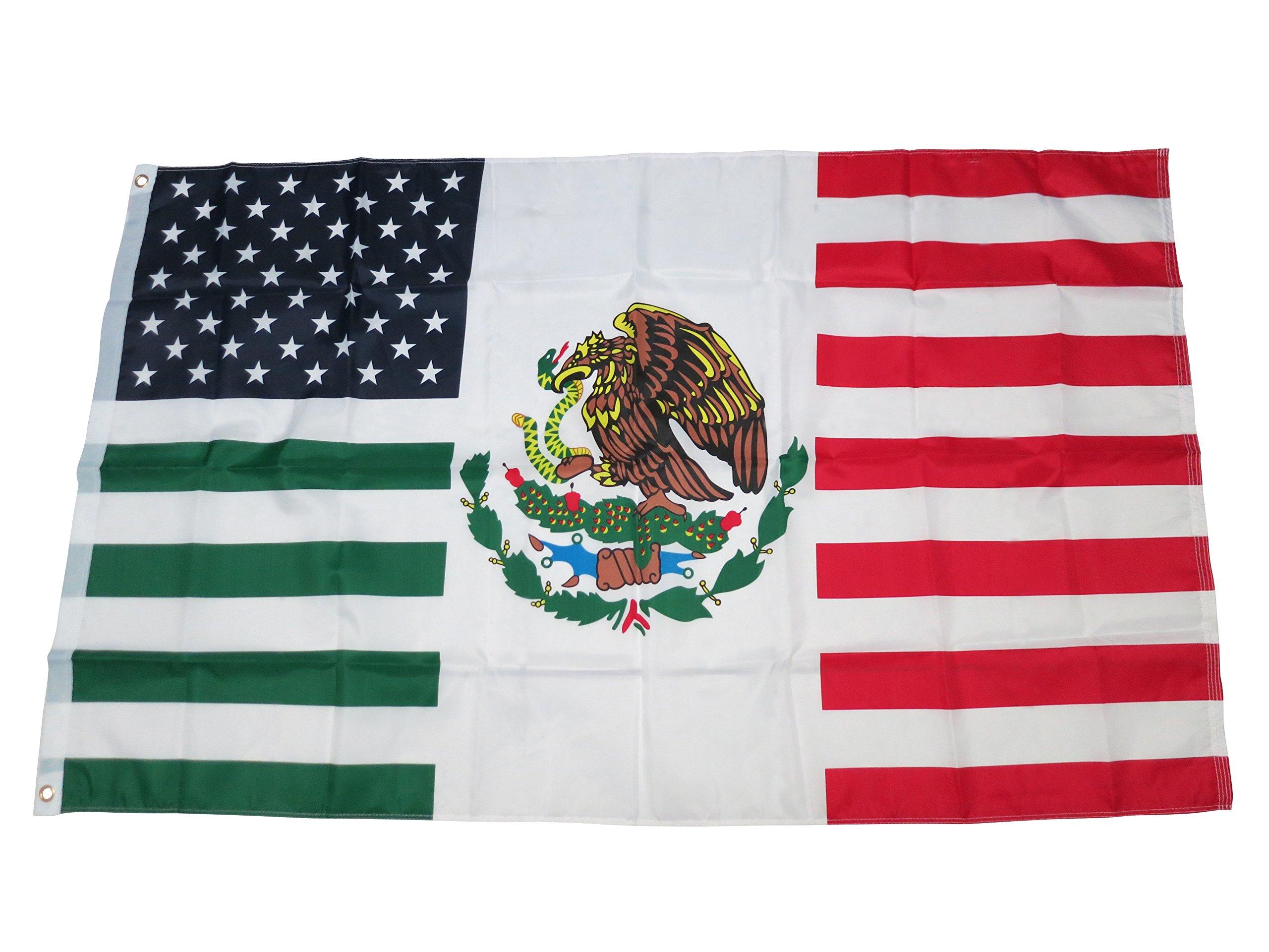 TrendyLuz Flags USA Mexico Friendship American Mexican Combination 3x5 Flag