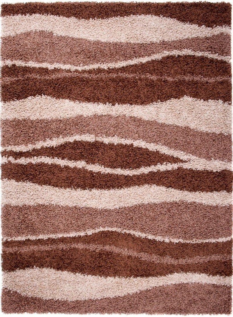 Designer Moderner Shaggy 50 mm Teppich Braun - 140 x 190 cm – CARPETO - Abstraktes Muster - Hochflor Weicher Dichter Flor - Robust Pflegeleicht RICO