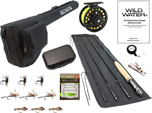 Wild Water Fly Fishing 9 Foot, 4-Piece, 3 4 Weight Fly Rod Complete Fly Fishing Rod and Reel Combo Starter Package