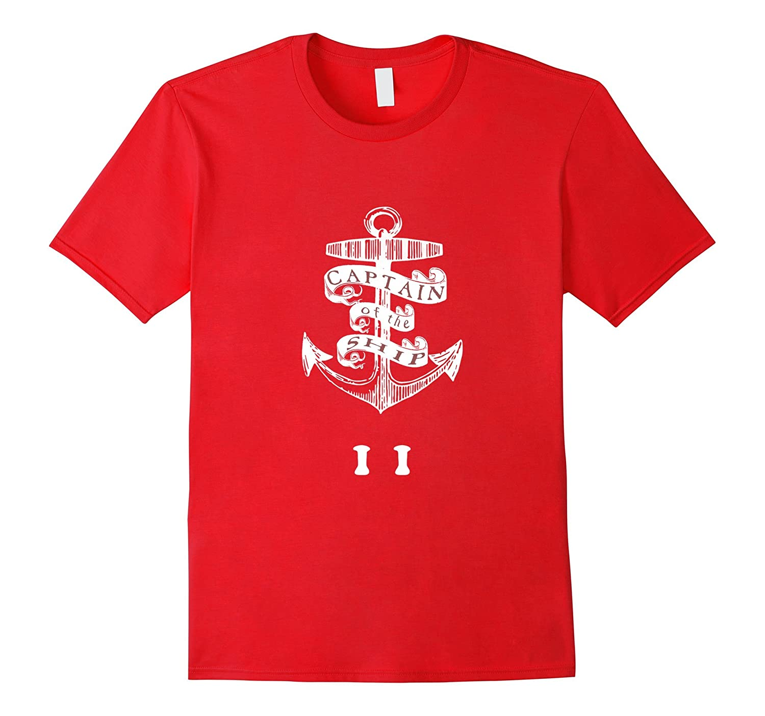 CAPTAIN OF THE SHIP T-Shirt 11 Year Old Kids Anchor Theme T