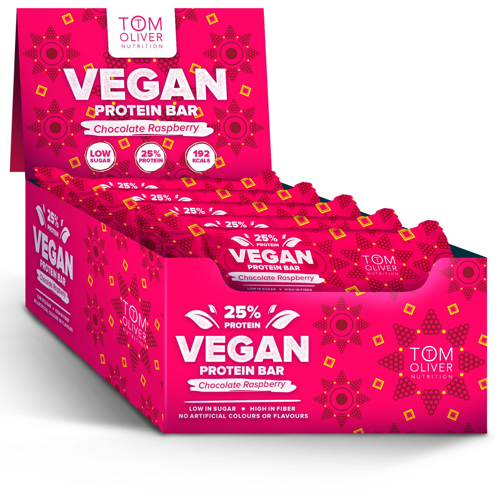 Tom Oliver Nutrition - Vegan High Protein Bars - Pack of 20 (Chocolate Raspberry) product image