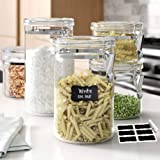 LE'RAZE Beautiful 5-Piece Airtight Acrylic Canister Set For Kitchen Counter, Food Storage Container For Pantry, Tea…