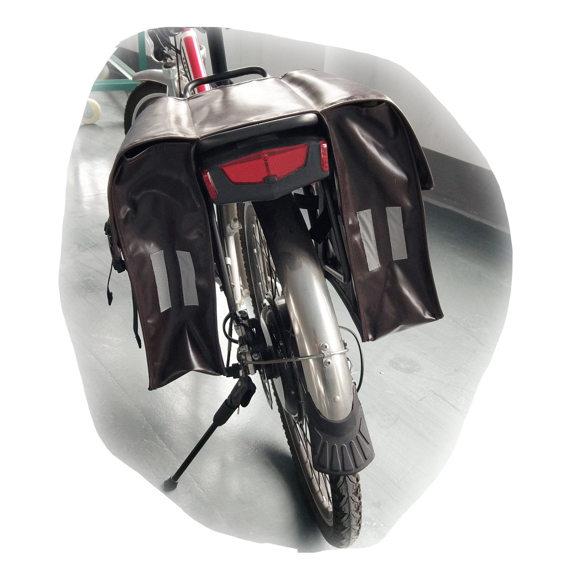 Cnebikes Brown Waterproof Bicycle Rear Seat Carrier Bag Double Pannier Bag Travel Camping Bag Leather Bag