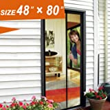 """Magnetic Screen Door, Magic Mesh Back Door Screens 48 X 80 Fit Doors Size Up to 46""""W X 79""""H Max with Full Frame Velcro Magnet Mosquito Curtain Keep Fly Bug Out"""