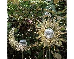 Solar Lights Outdoor Garden Decor,Waterproof Metal Sun Moon Decorative Stakes Crackle Globes Decoration for Walkway,Yard,Lawn